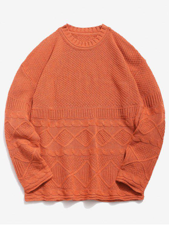 Solide geometrische Twist Strickpullover - Dunkles Orange 2XL