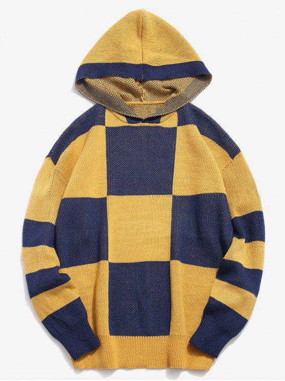 affordable Color Block Hooded Knitted Sweater - YELLOW XL
