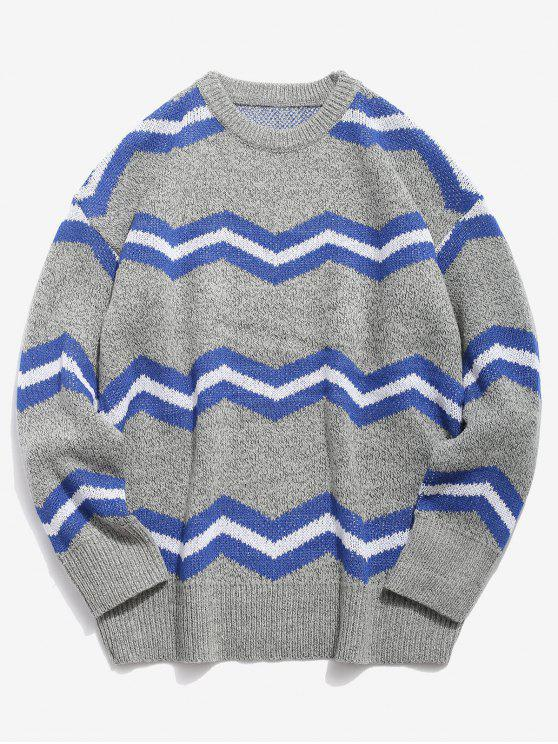 latest Contrast Wave Knitted Sweater - LIGHT GRAY 4XL
