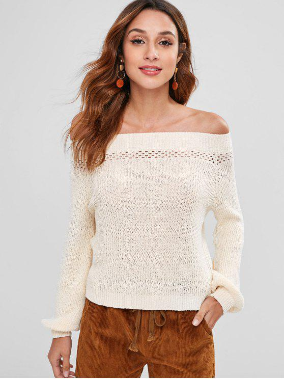 buy Off Shoulder Eyelet Sweater - BEIGE L