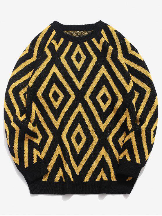 Suéter tejido con cuello redondo geométrico - Negro 2XL