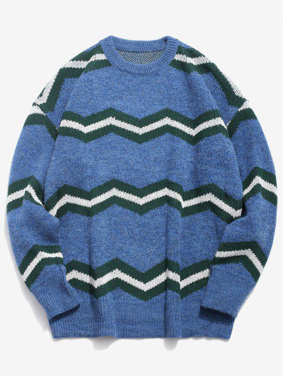 trendy Contrast Wave Knitted Sweater - BLUE 4XL