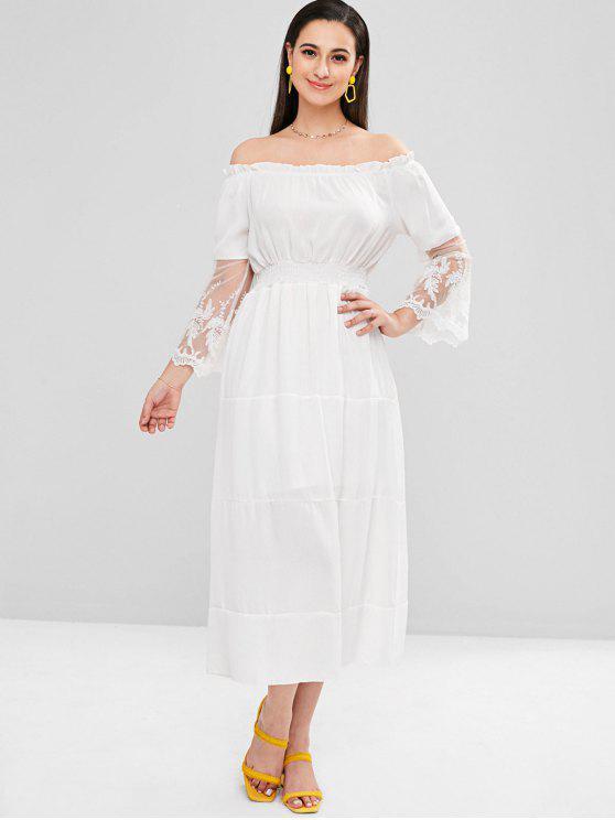 7feb327baa51 31% OFF  2019 Smocked Waist Off Shoulder Midi Dress In WHITE