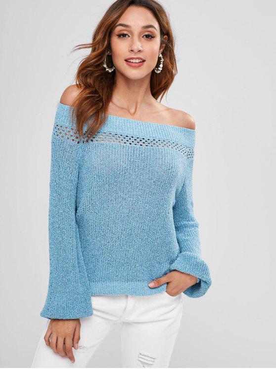 buy Off Shoulder Eyelet Sweater - SILK BLUE S