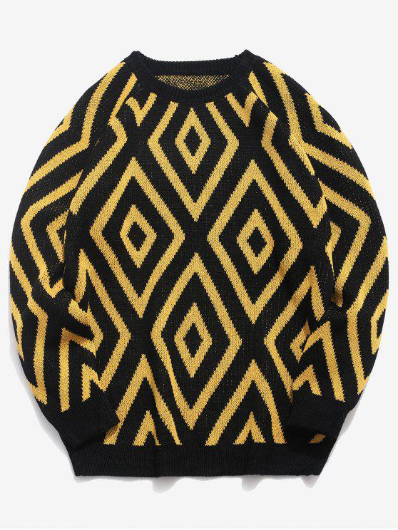 women Geometric Crew Neck Knitted Sweater - BLACK 3XL