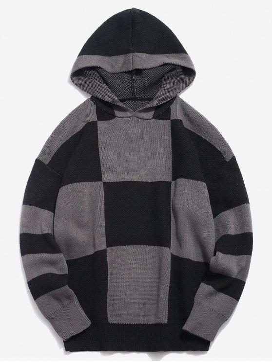 lady Color Block Hooded Knitted Sweater - BLACK L