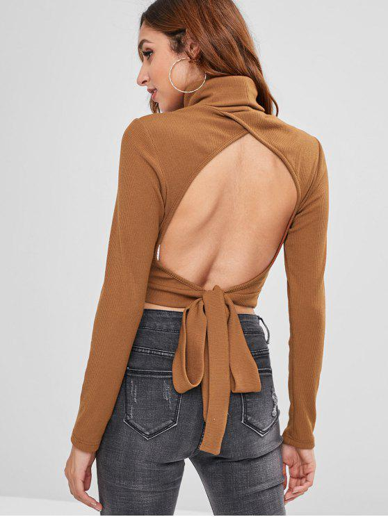 womens ZAFUL Turtleneck Knot Backless Tee - LIGHT BROWN XL