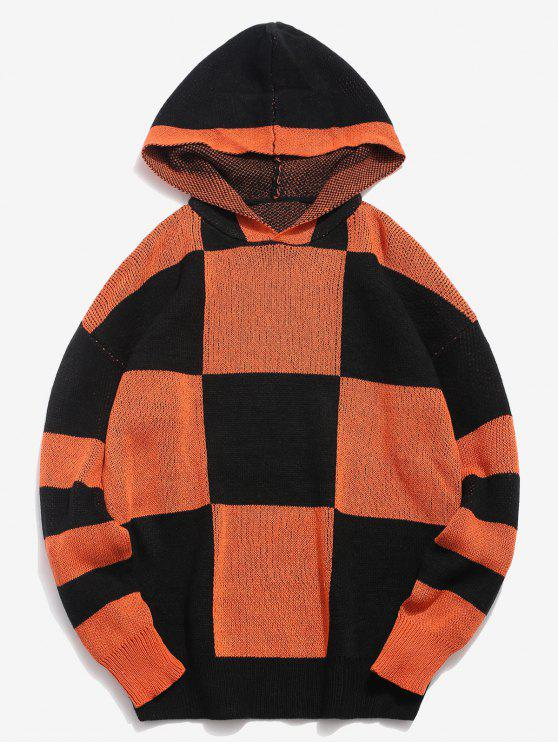 affordable Color Block Hooded Knitted Sweater - ORANGE 3XL