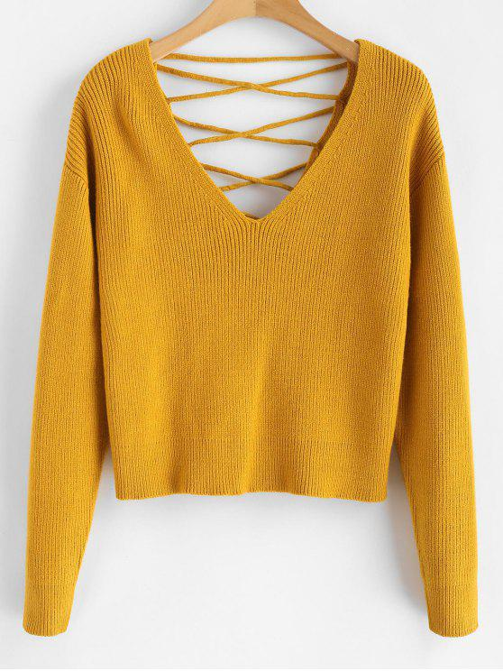 sale V Back Lace Up Sweater - BEE YELLOW S