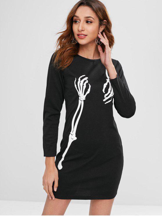 Robe courte à imprimé squelette d'Halloween - Noir L