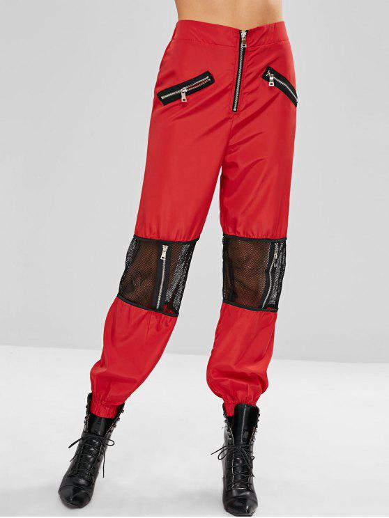 Zippered Mesh Panel Jogger Pants   Lava Red S by Zaful