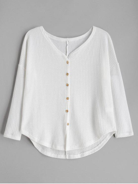 best Button Up Drop Shoulder V Neck Cardigan - CRYSTAL CREAM M