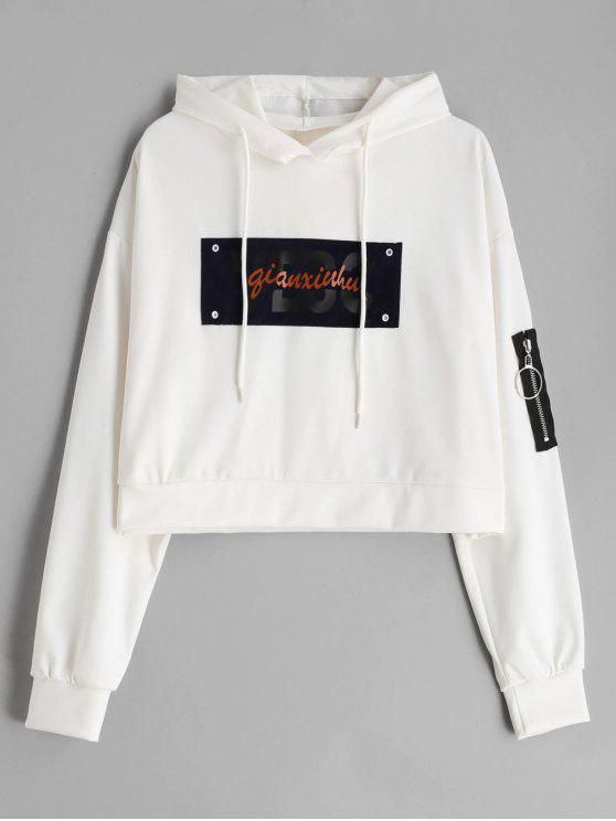 lady Letter Graphic Drop Shoulder Zip Embellished Hoodie - WHITE S