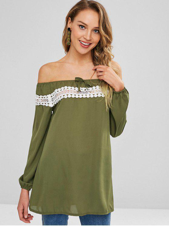 7b9d10fb59be 22% OFF  2019 Lace Trim Off Shoulder Blouse In ARMY GREEN