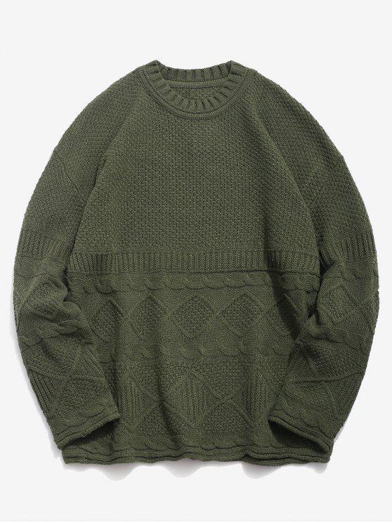 fancy Solid Geometric Twist Knitted Sweater - ARMY GREEN L