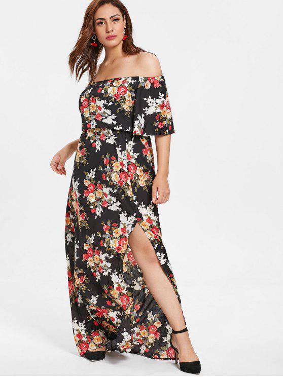 546d016cc7173 32% OFF] 2019 Floral Plus Size Off Shoulder Slit Dress In MULTI | ZAFUL
