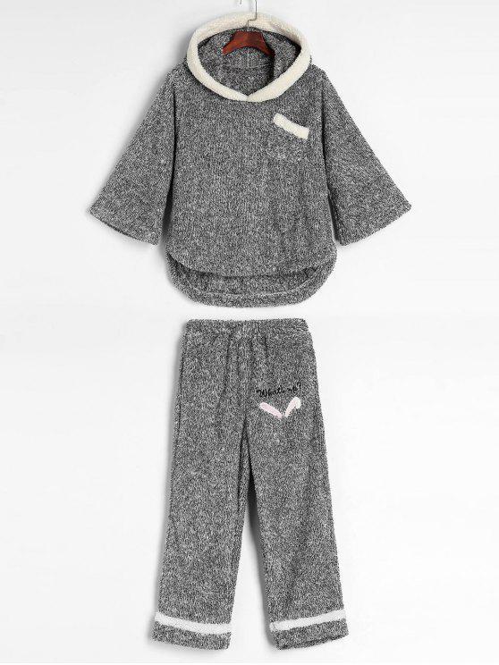 womens Mixed Yarn Fluffy Fleece Pajama Set - GRAY L