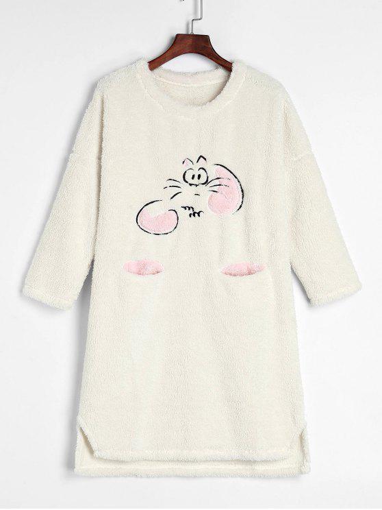 lady Cartoon Fluffy Fleece Winter Sleep Dress - WHITE XL