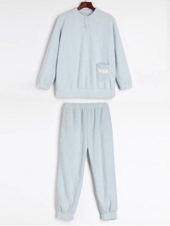 52e804433a7d 35% OFF  2019 Warm Winter Fluffy Fleece Pajama Set In LIGHT BLUE