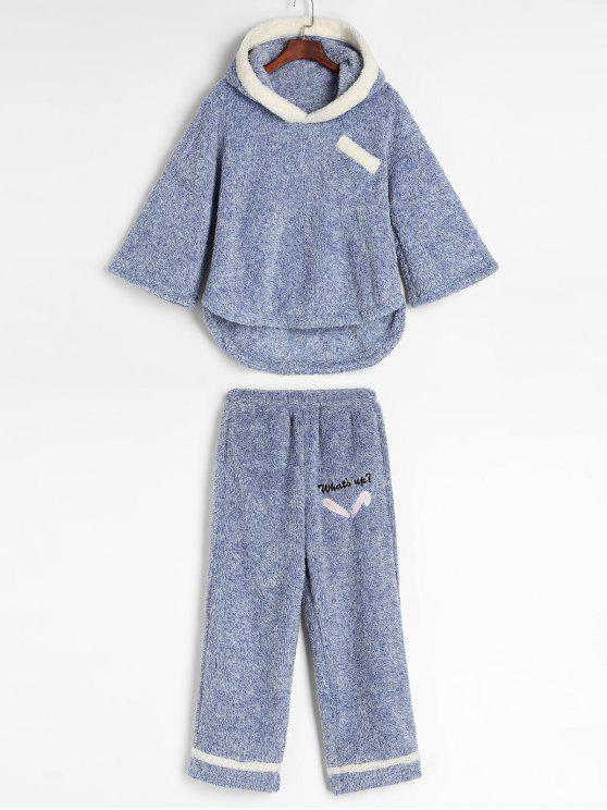 fancy Mixed Yarn Fluffy Fleece Pajama Set - LIGHT BLUE M