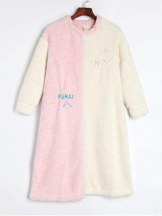 women Color Block Fluffy Fleece Winter Nightgown - MULTI L