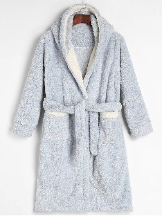 Robe Peignoir à Capuche Fourrée Ceinturée en Laine - Bleu Clair L