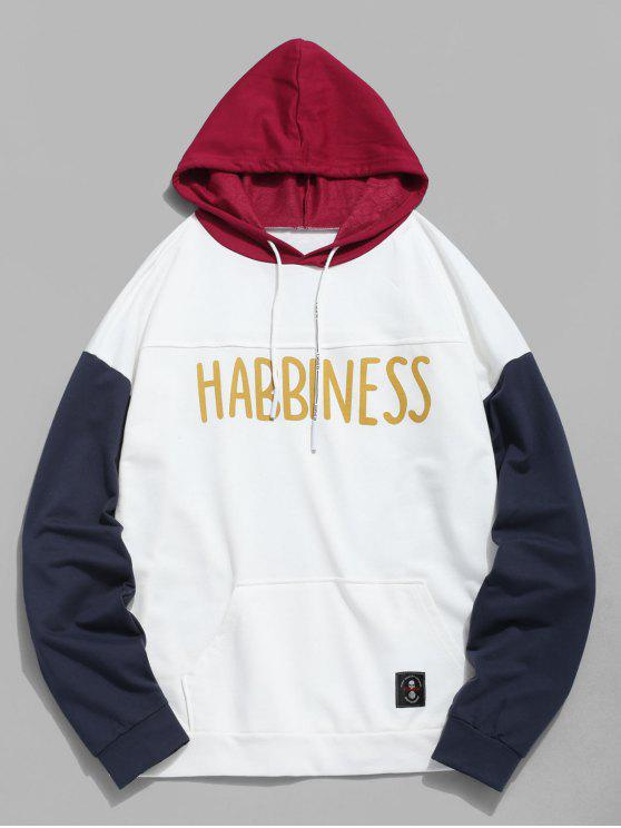 best Color Block Letter Casual Hoodie - WHITE XS
