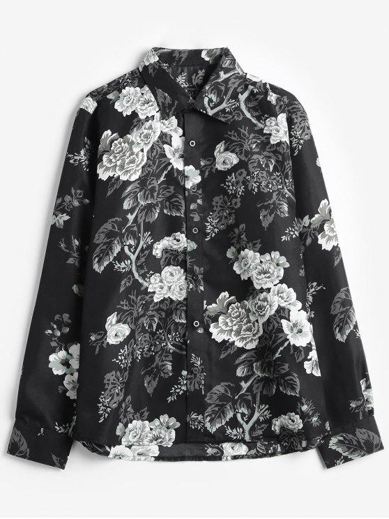 ladies Rose Flowers Print Casual Shirt - BLACK L