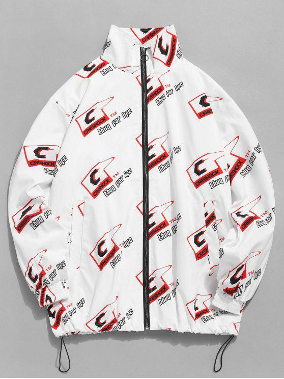 shop Letter Logo Print Windbreaker Jacket - WHITE L