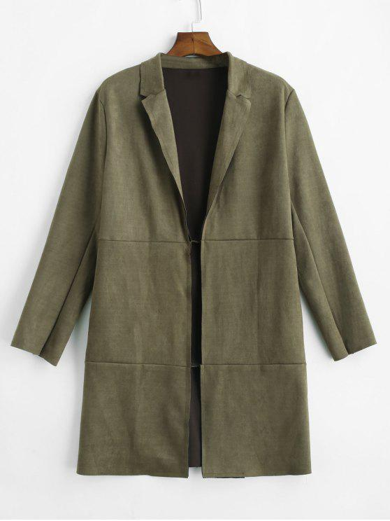 outfits Open Front Raw Cut Faux Suede Coat - ARMY GREEN L
