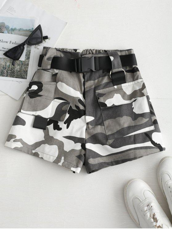 outfits High Rise Belted Camo Print Shorts - GRAY M
