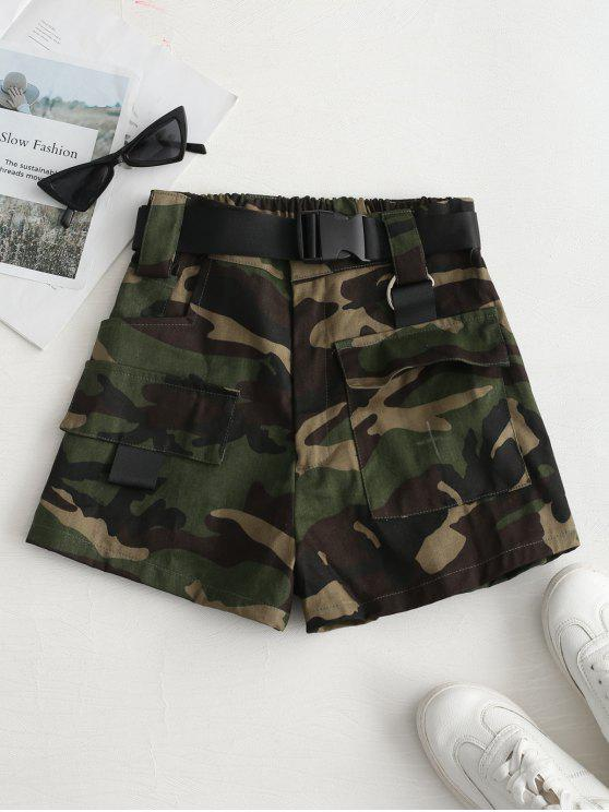 shops High Rise Belted Camo Print Shorts - ARMY GREEN S