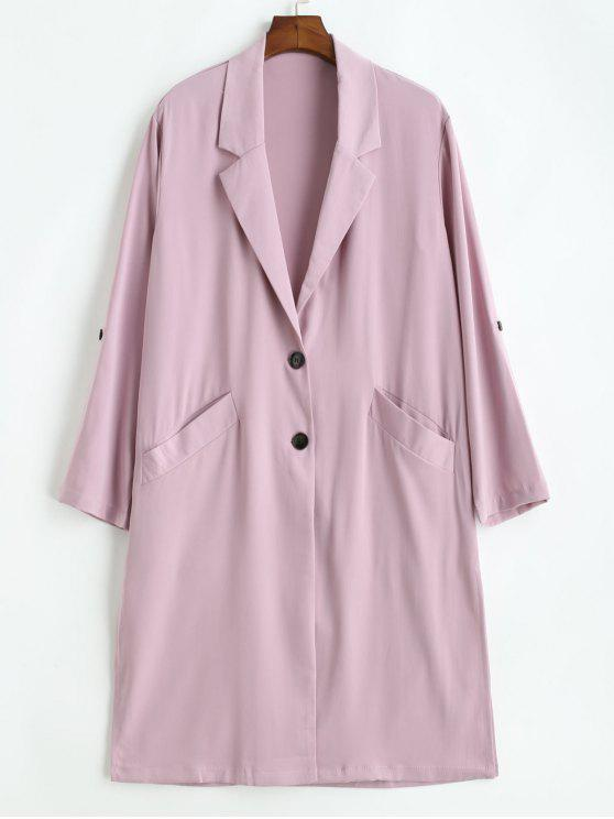 womens Roll Tab Sleeve Flowy Trench Coat - LILAC L