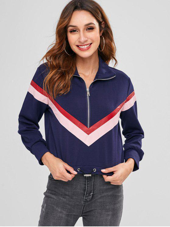 women Chevron Patch Zipped Sweatshirt - DEEP BLUE L