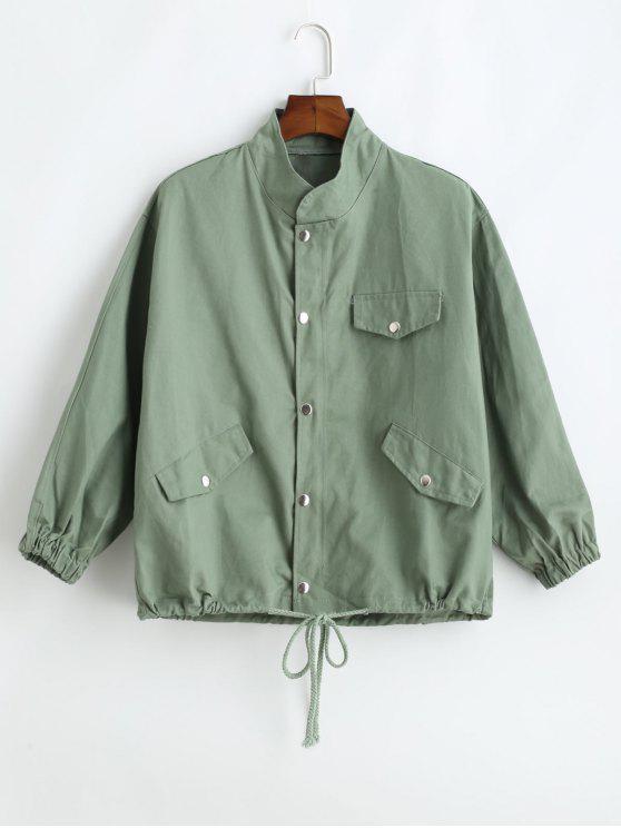 sale Drawstring Twill Jacket - DARK SEA GREEN M