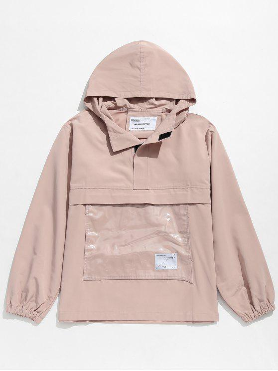 latest Front Pocket Windbreaker Jacket - LIGHT PINK XL