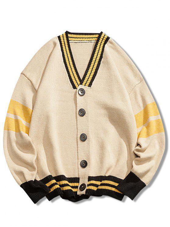 buy V Neck Loose Button Cardigan - CORNSILK 3XL