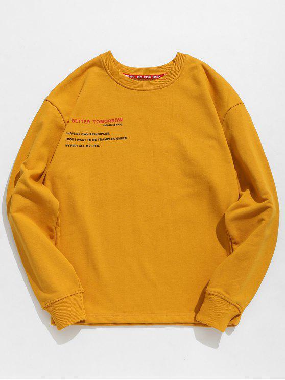 fashion Letter Human Print Graphic Sweatshirt - BEE YELLOW 2XL