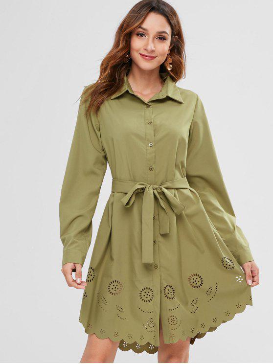 women's ZAFUL Laser Cut Belted High Low Dress - KHAKI L