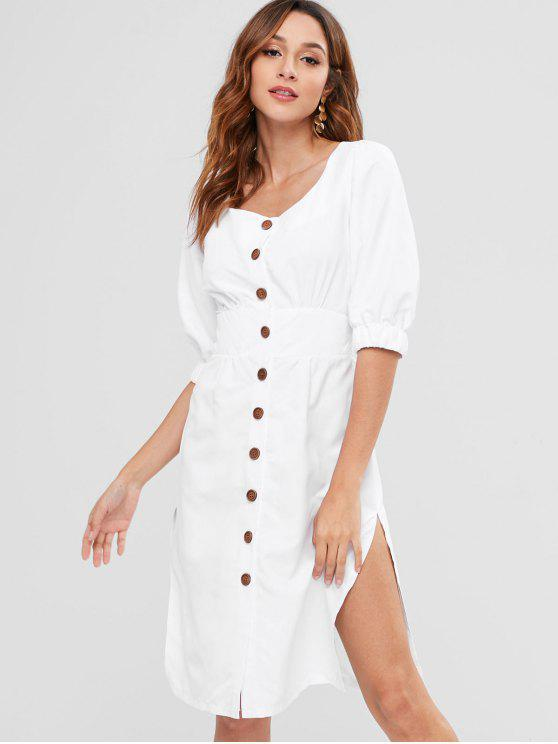lady ZAFUL Side Slit Buttoned Knotted Dress - WHITE XL