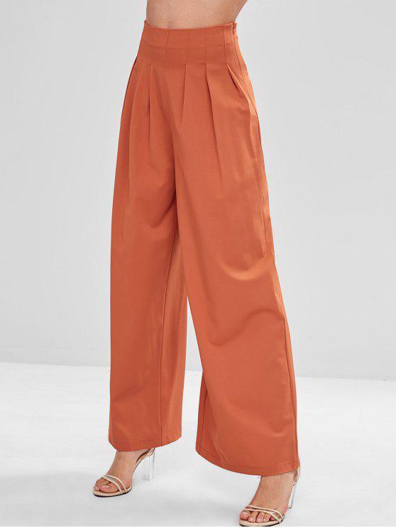 new ZAFUL High Waist Plain Wide Leg Pants - BRIGHT ORANGE L