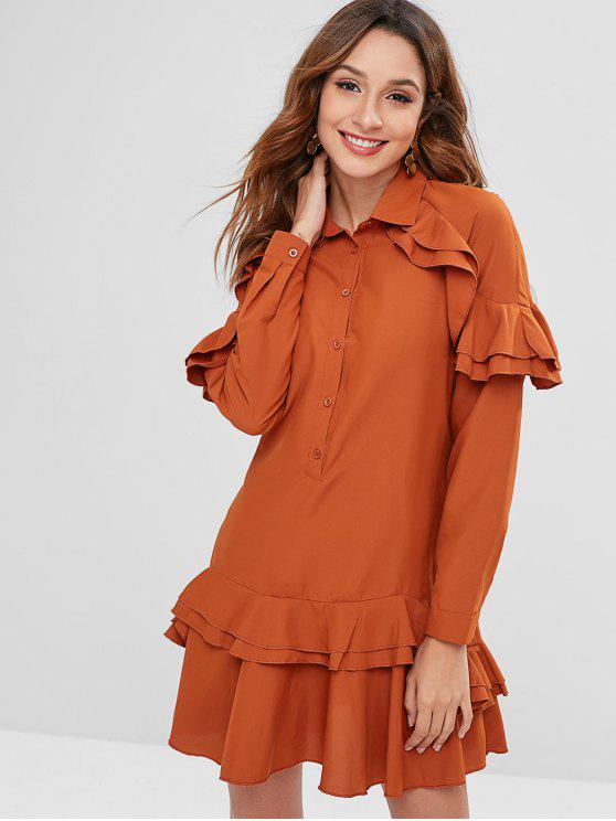 shop ZAFUL Ruffles Half Button Mini Dress - BRIGHT ORANGE XL