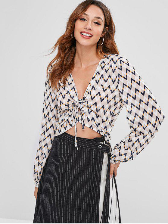 outfits ZAFUL Zigzag Graphic Tie Front Blouse - MULTI M