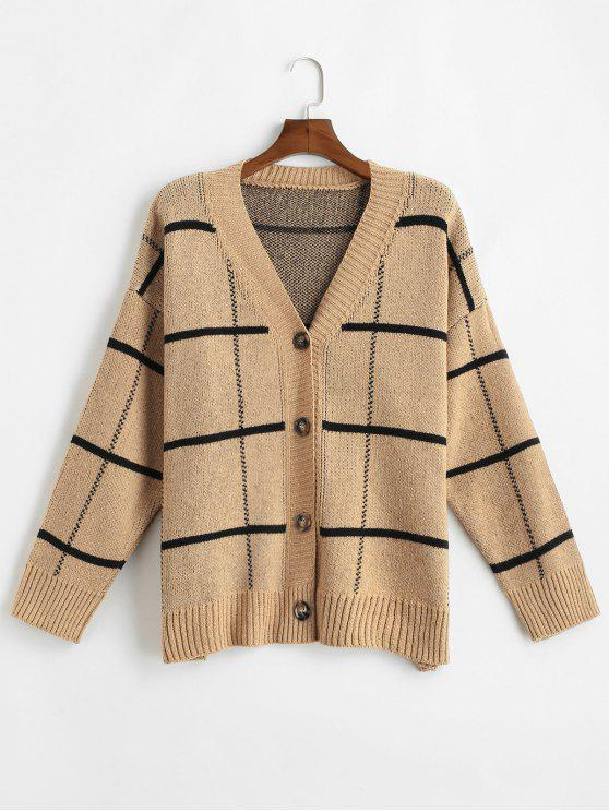 affordable Windowpane Checker Oversized Cardigan - CAMEL BROWN ONE SIZE