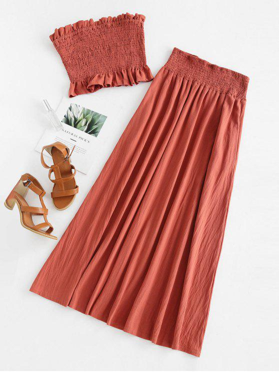 hot Smocked Bandeau Top and Maxi Skirt Set - CHESTNUT RED M