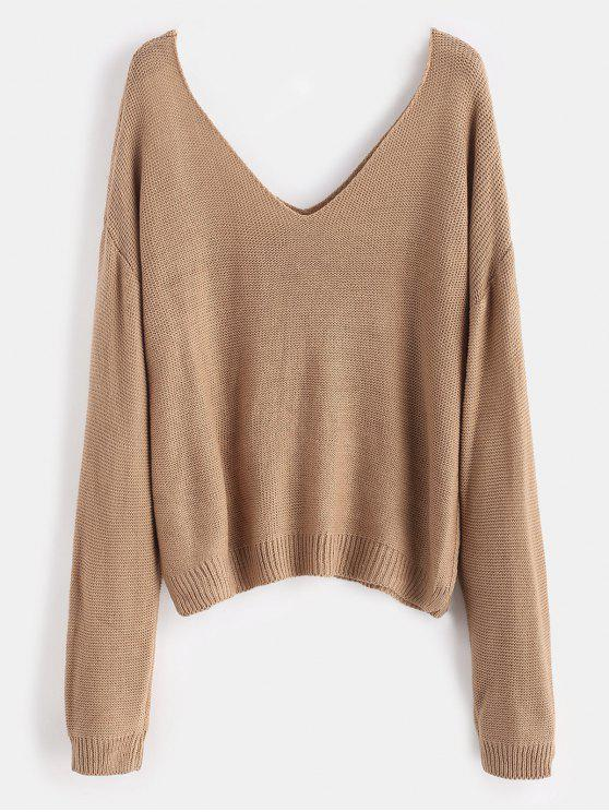 hot Side Slit Drop Shoulder Sweater - LIGHT KHAKI ONE SIZE