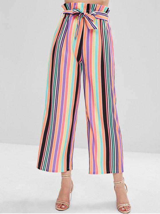 outfits ZAFUL High Waisted Colorful Stripes Wide Leg Pants - MULTI L
