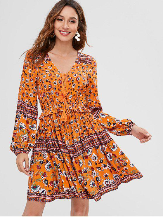 65% OFF   HOT  2019 ZAFUL Floral Long Sleeve A Line Dress In MULTI S ... a1a8a57386ed