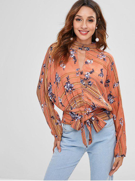 affordable ZAFUL Floral Keyhole Backless Knot Blouse - MULTI M
