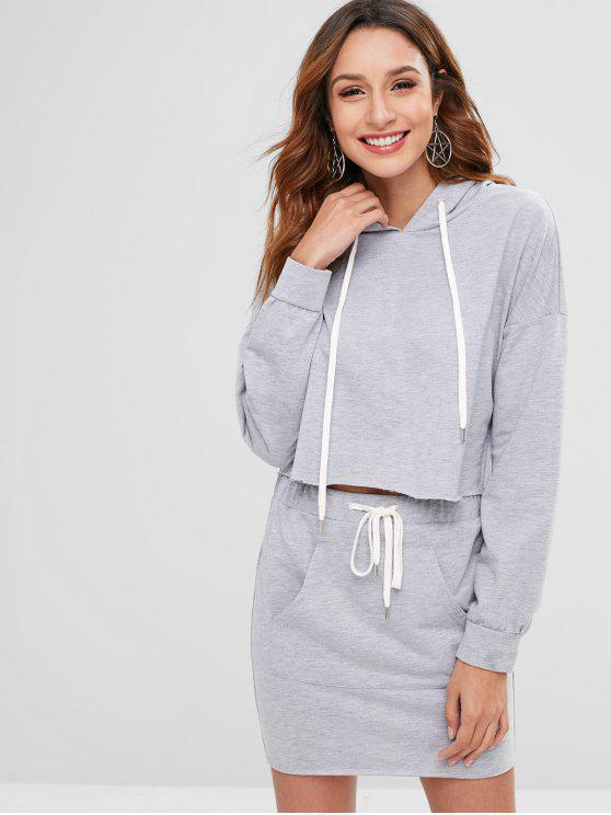 women ZAFUL Raw Hem Hoodie and Pocket Skirt Set - LIGHT GRAY XL